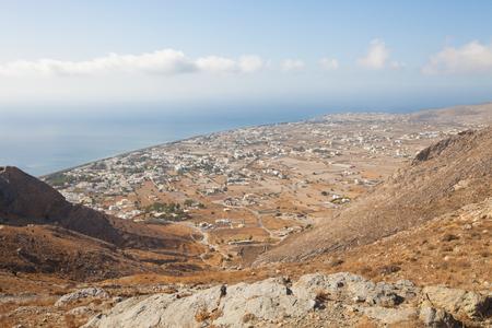 Aerial view town Perissa to Kamari in Santorini Greece Stock Photo