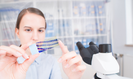 young woman scientific  female student researcher looking microscope slide  in a laboratory.