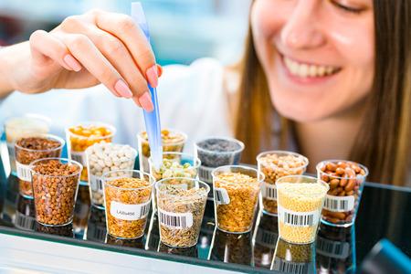 GMO research of cereals in laboratory Archivio Fotografico