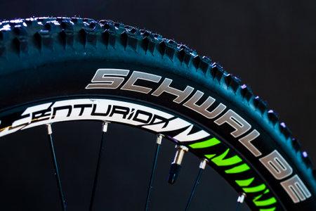 BERLIN, GERMANY - June 06, 2016: Details of the mountain bike MTB company Shimano Editorial