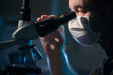the lesions: Doctor examines patient tissue samples