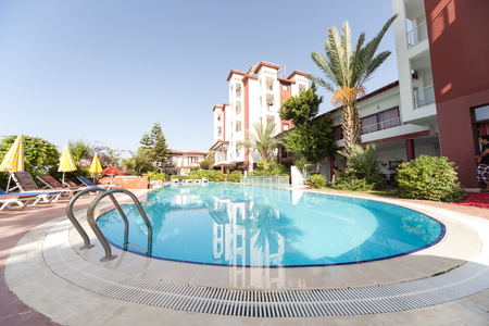Hotel with swimming pool in Side, Turkey - June, 2016