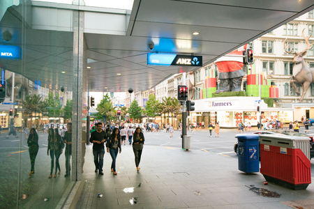 Auckland, New Zealand - APRIL, 2016: Shopping centers and skyscrapers in the city center Auckland Editorial