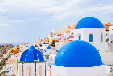 Dome of the Orthodox Church in Oia, Santorini Island, Greece Stock Photo