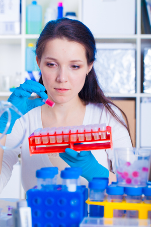 A girl technician in a medical laboratory Archivio Fotografico