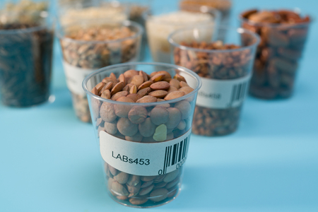 seeds of agricultural plants in test tube with barcodes in the laboratory
