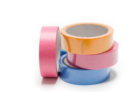 sellotape, scotch, painter  and duct tape on a white background Stock Photo