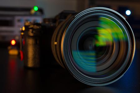 Photo Camera or Video lens close-up on black background DSLR objective Foto de archivo
