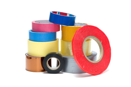 Roll tapes, painter and duct tape on a white background