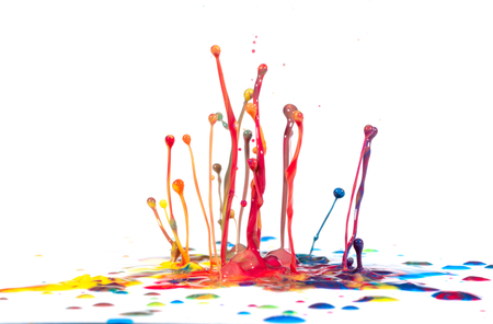 Splash of color ink on white background Stock Photo