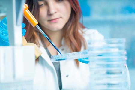 female technician in medical laboratory, hospital Petri dish test