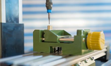 CNC milling machine processing plastic detail.Cutting plastic  modern processing Stok Fotoğraf