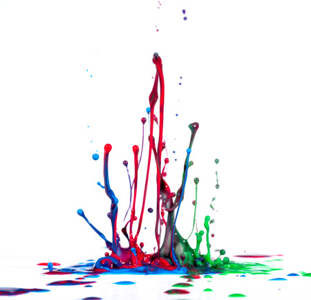 Splash of color ink on white background Stock Photo