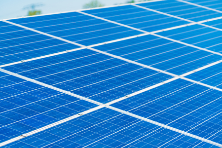 Solar Panels with sunlight and blue Archivio Fotografico - 107156095