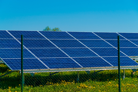 Solar Panels with sunlight and blue