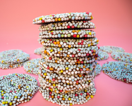 Cookies with colored candy decorations Stock Photo