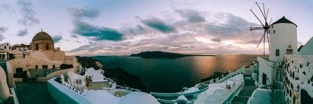 Panorama of Santorini at sunset