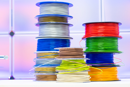 Spools of plastic filaments for 3D Printer