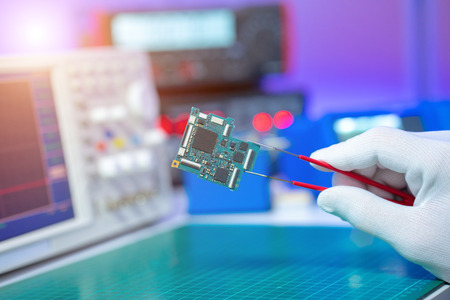 To repair the PCB of a modern monitor at the service center. Laboratory electronic processor technology