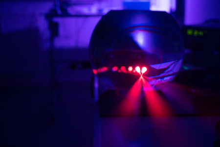 Experiment with red laser in optics lab