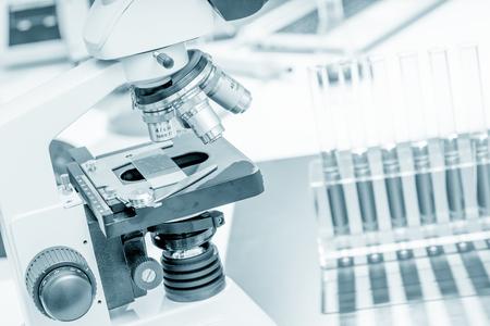 Scientific microscope in the laboratory of forensics Stock Photo