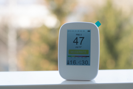air quality monitor records poor air quality