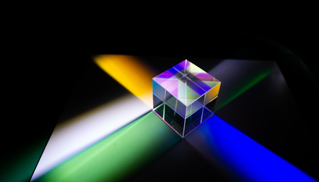 Trichroic prism  to split an image into 3 colours