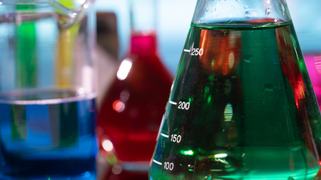 flasks and test tubes in a chemistry laboratory