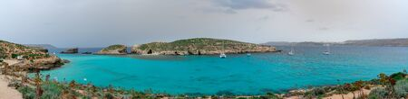 Pure crystal turquoise water of Blue Lagoon in Comino Malta