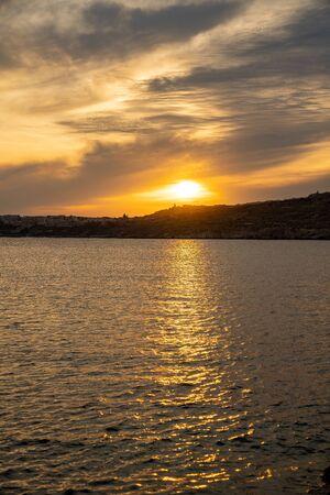 Sunset over mediterranean sea Beautiful cloudscape over the sea, sunrise / sunset shot. Imagens