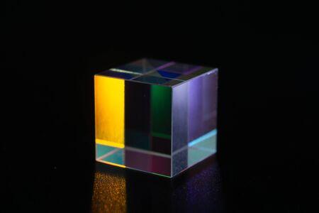 Sample of optical glass cube