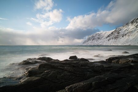 Panorama   seashore and mountains in Norway Reklamní fotografie