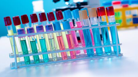 Test tubes and flasks in a chemical laboratory Stockfoto