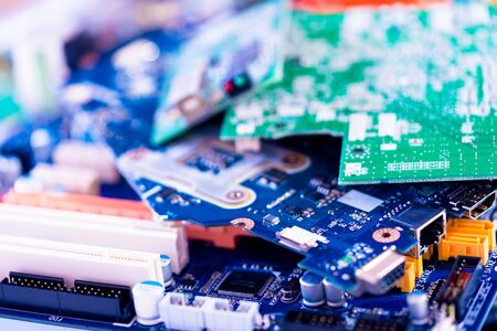 electronic PCB garbage as background from recycle industry and old consumer devices Banco de Imagens