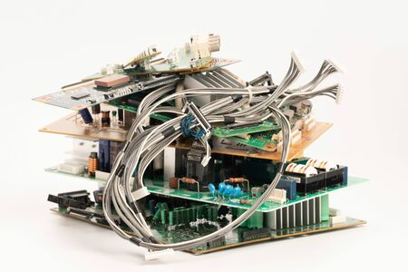 electronic PCB garbage as background from recycle industry and old consumer devices Фото со стока