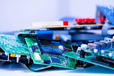 electronic PCB garbage as background from recycle industry and old consumer devices Stockfoto