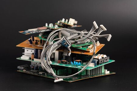 electronic PCB garbage as background from recycle industry and old consumer devices Stock fotó