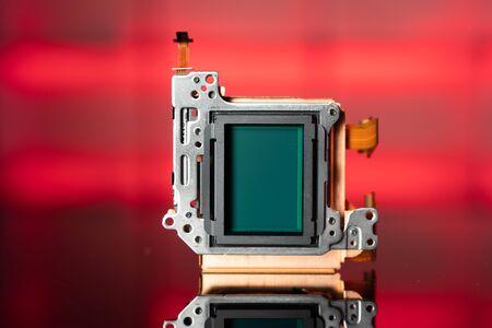 modern CMOS  camera Image sensor. digital dslr camera cmos sensor removed from camera. Stock Photo