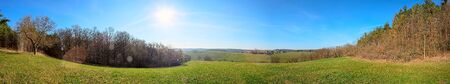 Panorama of agricultural field at a sunny day