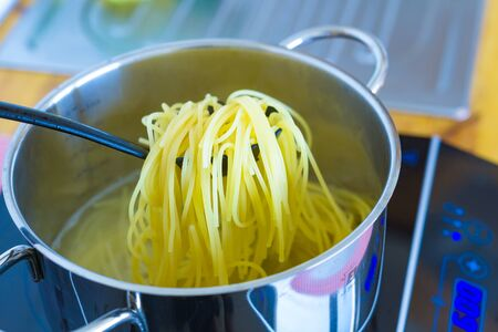 Pasta cooked in a pan