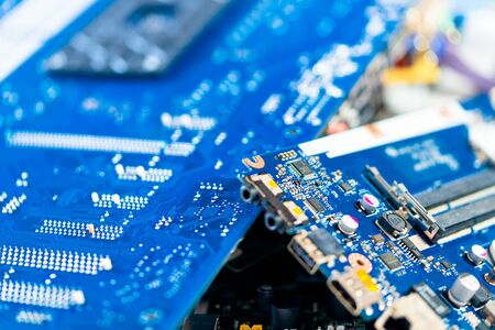 electronic PCB garbage as background from recycle industry and old consumer devices Stok Fotoğraf
