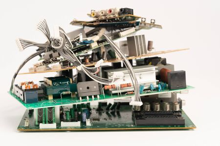 electronic PCB garbage as background from recycle industry and old consumer devices 版權商用圖片