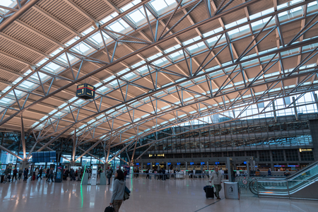 HAMBURG, GERMANY - MAY 20, 2019: Terminal 2 of Hamburg Airport  Hamburg Airport is  Germanys commercial airports 新聞圖片