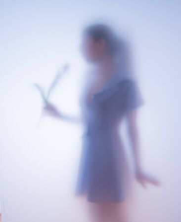 Blurred photo girl with flowers behind glass Banco de Imagens