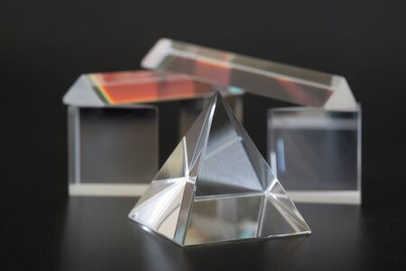 Sample of optical glass cube, pyramid and prism