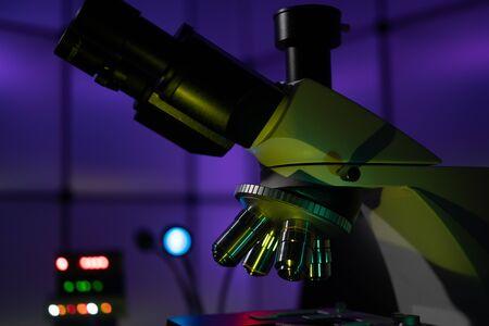 microbiological laboratory microscope in laboratory interior