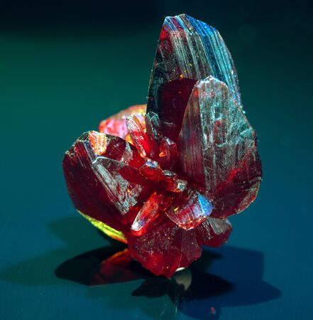 Precious red mineral on black background Banque d'images