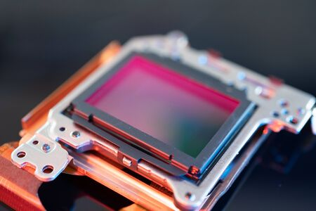 modern CMOS camera Image sensor. digital dslr camera cmos sensor removed from camera.