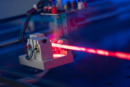 Laser development system in optical laboratory. Study of lasers  the science lab optical testing Stock Photo