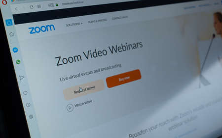 Berlin, Germany - April 13 2020:  Zoom.us website. Zoom Video Communications, Inc., is an American remote conferencing services company Editorial